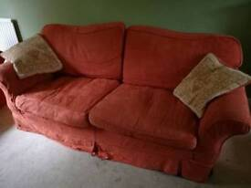 Three seater sofa, chair & poof