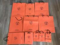 Authentic genuine Hermes designer paper carrier bags