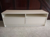 Ikea TV bench with drawers, white.