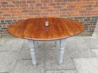 Rustic chunky wooden drop leaf extending kitchen dining table. Grey shabby chic. LOCAL DELIVERY.