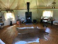 Log cabin yurts fishing