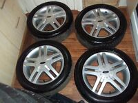 RARE FORD 16 INCH ZETEC ALLOY WHEELS AND GREAT TYRES NICE SET