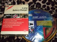 New unused Car Jump Leads Set - 4amp 6cell Battery Charger - Job lot Bargain or £4.75 each