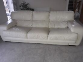 3 Seater White Leather Sofa