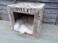 Handmade natural rustic wooden crate cat dog pet house shelter den bed kennel