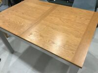 Extending table with oak and grey painted legs family table