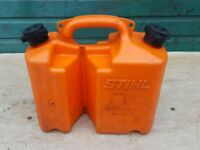 Stihl Chainsaw fuel and 2 stroke oil can tank.