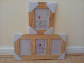 "Pine photo frames, still in original plastic. Single frame 7x5"", multi is 3 frames @ 6x4"""