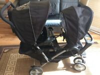 Graco stadium duo black double pram buggy