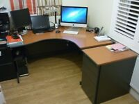 Curved Office Desk and matching pedestal 3 draw unit