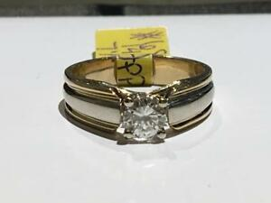 #68 14K YELLOW & WHITE GOLD SOLITAIRE ENGAGEMENT RING JUST OVER 1/2 CT! *SIZE 7 1/2* APPRAISED FOR $4650.00!