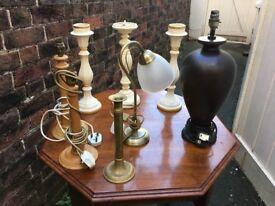 Lamps lamp bases/ candlesticks Job Lot
