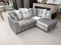 NEW R/H SILVER CRUSHED VELVET CORNER SOFA INCLUDES FREE DELIVERY & FREE MATCHING STOOL FOR £299.99