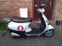 2002 Vespa 50 automatic scooter, long MOT, good runner, cheap insurance, not restricted, bargain,,,