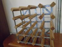 pine and galvanised steel wine rack.