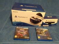 SONY PS4 VR BUNDLE hardly used - Headset + camera + 2 games etc