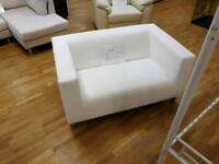 2 seater white faux leather sofa with metal legs (slight damage) see pics