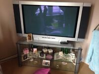 59 inch vision flat screen tV and glass stand