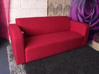 New Red Fabric Sofa Modern Retro 3 Seater Sofa Delivery Available