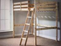 "High Double Loft Bed; 4'6"" heavy duty, pine sleeper. Hardly used. All parts & full instructions."