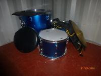 Six piece drum kit with stool.