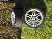 "5x112 Mercedes-Benz Amg Alloys 17"" With Cracking tires Sale or Swap"