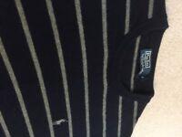 Polo Ralph Lauren dark blue & grey stripe wool jumper - Medium