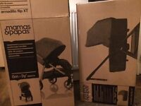 BRAND NEW IN BOX Mamas & Papas Navy Armadillo FLIP XT & Designer Carrycot - pram stroller buggy