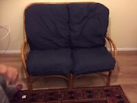 Blue wooden sofa frame with cushions for sale