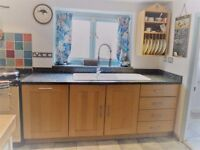 Quality Fitted Kitchen, Solid Beech units, Black granite work surfaces, double sink and dishwasher