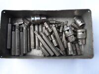 Box of various Allen keys. Spline.and torque.