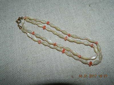 ~~~Wunderschöne Vintage Perlmutt Korallen Kette Oliven zierlich alt antik ~~~