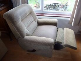 Armchairs (2), one a recliner Dark green, high backs, very comfortable Small tear on rear of one