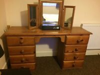 Antique pine 8 drawer dressing table and mirror