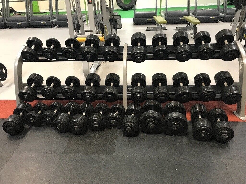 24 pairs of dumbbells and 2 racks