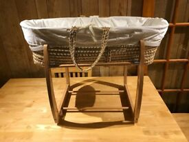 Mamas & Papas Wicker Bassinet with Wooden Rocking Frame