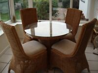 Conservatory dining table and 4 chairs