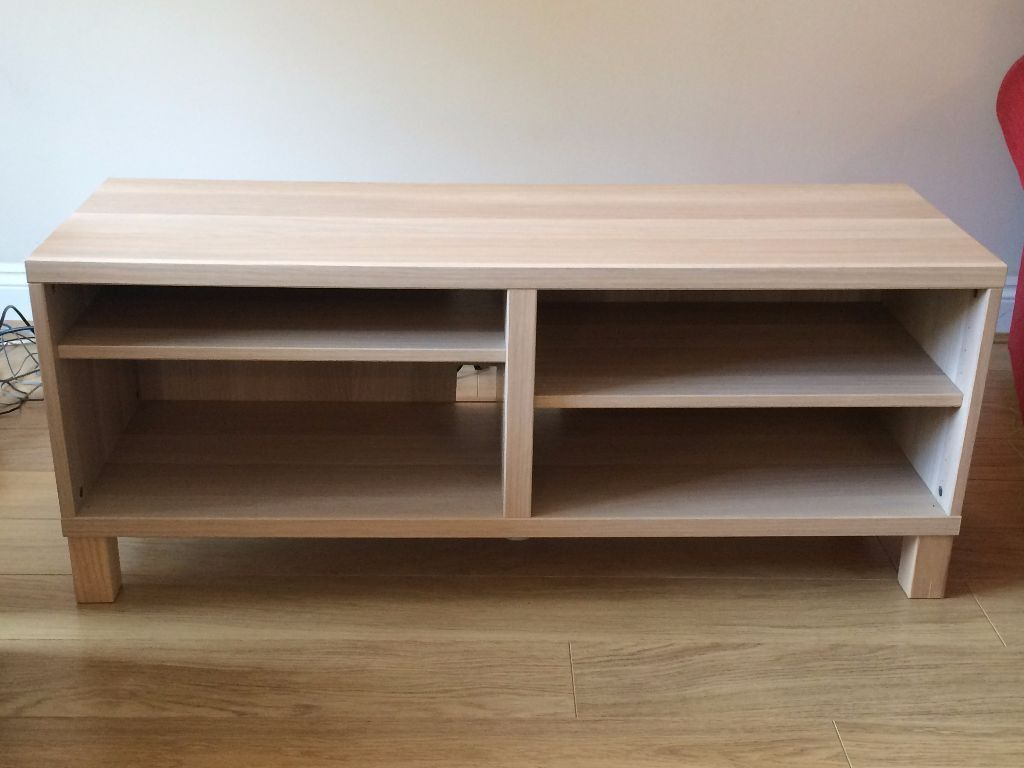 ikea besta tv stand cabinet unit lovely pale white oak. Black Bedroom Furniture Sets. Home Design Ideas