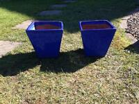2 blue glazed flared garden pots planters