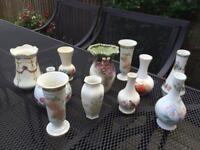 11 small mixed vases - ideal rustic / vintage wedding centrepieces