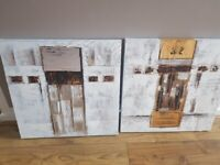2x Modern Abstract Canvas Square pictures approx 51/51 cm. in great condition