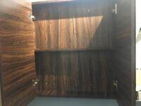 Mirrored bathroom cabinet walnut