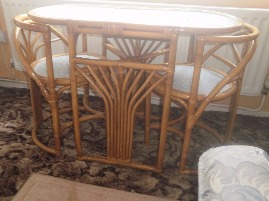 Bamboo Table And Chairs Furniture Shabby Chic Tops Refurbished