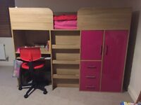 Pink mid sleeper bed