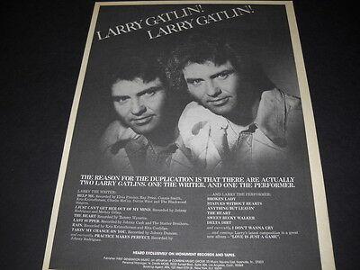 LARRY GATLIN The Writer LARRY GATLIN The Performer 1977 PROMO POSTER AD mint
