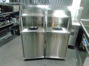 GARBAGE, RECYCLING BINS, RECEPTACLES, MANUFACTURED CUSTOM BAR EQUIPMENT, CABINETS, STEAM TABLE, HOT / COLD BUFFET TABLE
