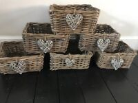 IKEA BASKETS X6 BYHOLMA 29x25x15h X6. I've added wicker hearts can be removed £20 the lot brentwood