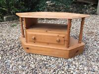 Corner table with drawer solid pine