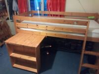 Cabin Bed with slide out desk/shelves