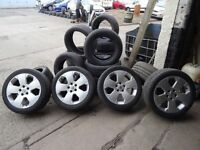 """set of 17"""" 5 stud vauxhall alloys with brand new 225 45 17 tyres all round quick sale £250"""
